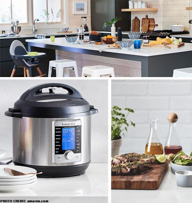 Collage of kitchen essentials with the first photo being of an actual kitchen, the second of an Instant Pot, and the third a cutting board with meat on it. photo