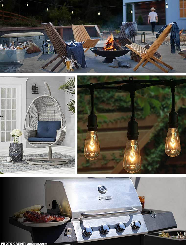 Collage of outdoor photos including furniture, lights, and a grill. photo