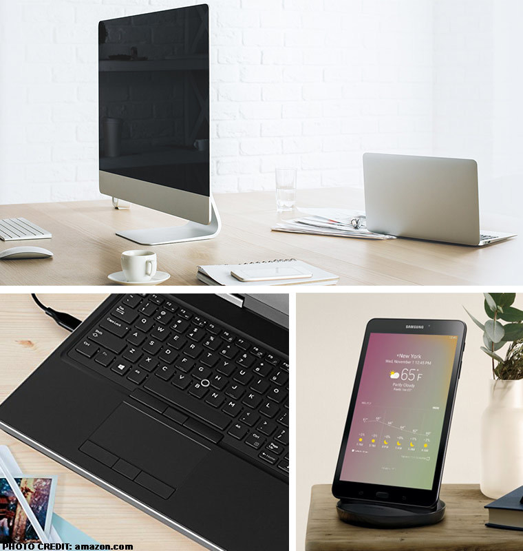 Collage of electronics: top photo is of a mac desktop, bottom left photo is of a keyboard, bottom right photo is of a tablet. photo