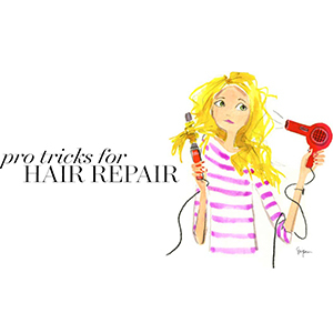 Cartoon drawing of a blonde woman blow drying and curling her hair. photo