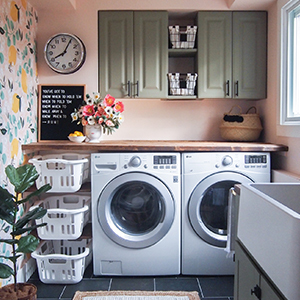 Laundry room makeover with lemon wallpaper and pink wall. photo