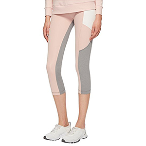 Light pink cropped leggings with gray and white color-blocking on the leg photo