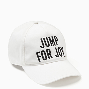 White baseball cap with Jump for Joy printed on it photo