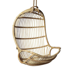 Brown woven rattan hanging chair photo