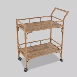 Rattan two-tier bar cart from Target photo