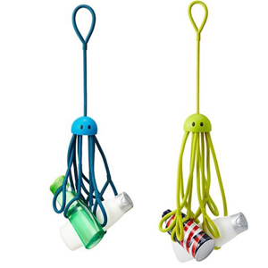 One blue and one green hanging shower caddy that hold shower essentials. photo
