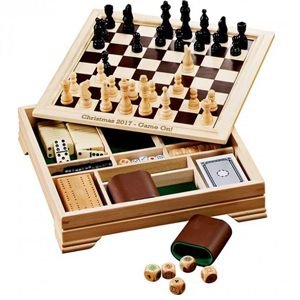 A board game set with a chess cover. photo