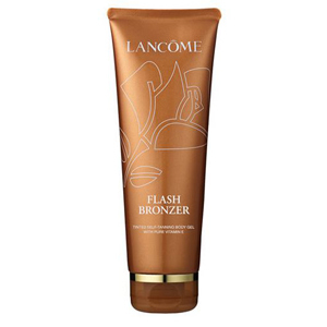 Brown bottle of Lancome self-tanning gel. photo