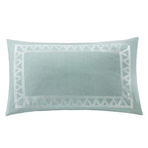 Oblong pillow in mineral blue with silver embroidered frame photo