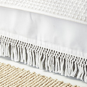 White linen and cotton macramé bed skirt photo