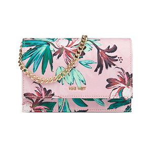 Light pink mini shoulder bag with tropical pattern and gold chain strap photo