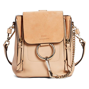 Leather backpack with ring closure and adjustable straps photo