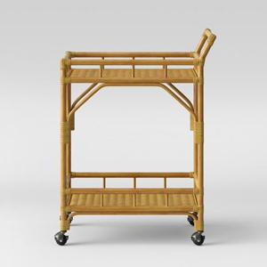 Rattan bar cart with two shelves photo