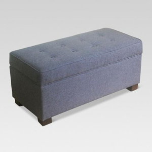 Gray tufted ottoman with storage space inside photo