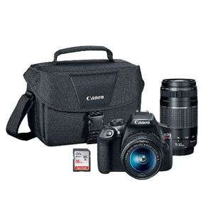 Canon camera set that includes the Rebel T6, two lenses, camera bag, and memory card. photo