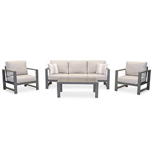 Couch, two chairs, and matching table with metal gray legs photo
