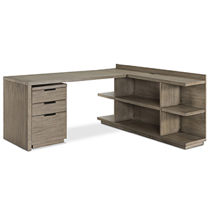 Gray wooden desk with bookshelf and rolling filing cabinet photo