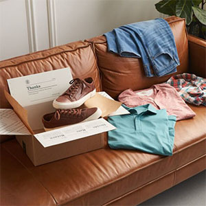 Stitch Fix subscription box with men's clothing photo