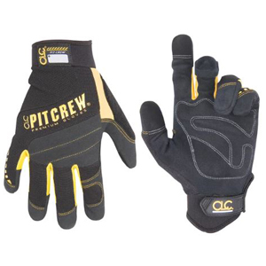 Pair of black and yellow safety gloves with padded palms and knuckles. photo