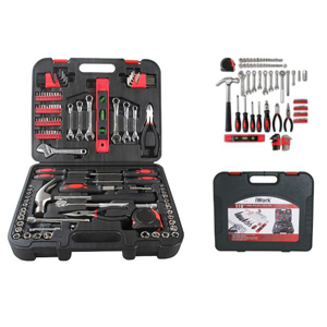 Black and red 119-piece tool set that comes in a black box to hold everything together. photo