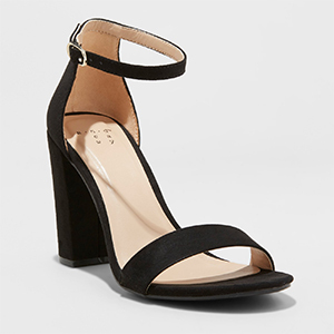 Black open-toe pumps with block heel and ankle strap photo