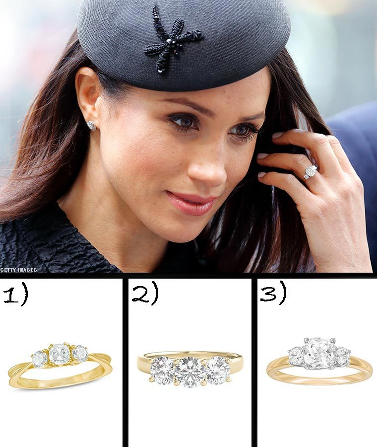 Meghan Markle wearing her ring with three similar yellow gold rings below photo