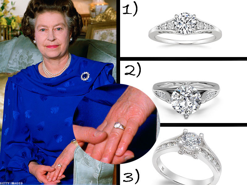 Queen Elizabeth wearing her ring with three similar white gold rings to the side photo