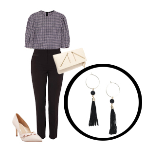 Black tassel hoop earrings with plaid blouse, black jeans, nude pumps, white leather clutch photo