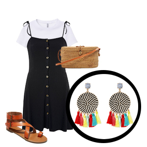 Round multicolor tassel earrings with black button dress, white t-shirt underneath, brown gladiator sandals, and rattan handbag photo