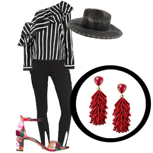 Burgundy tassel earrings with a black and white striped one-shoulder top, black jeans, black hat, and floral strappy heels photo