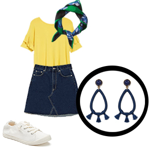Navy tassel earrings with yellow shirt, denim skirt, green and blue mini scarf, and white sneakers photo