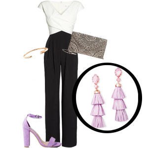 Lilac tassel earrings with black and white jumpsuit, beaded clutch, rose gold bracelet, and lilac heels photo