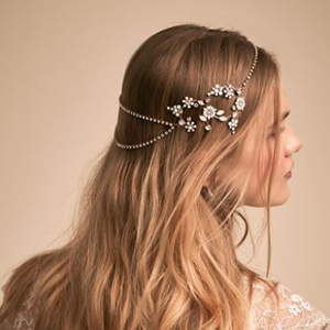 Woman wearing a sparkly beaded headpiece around her head. photo