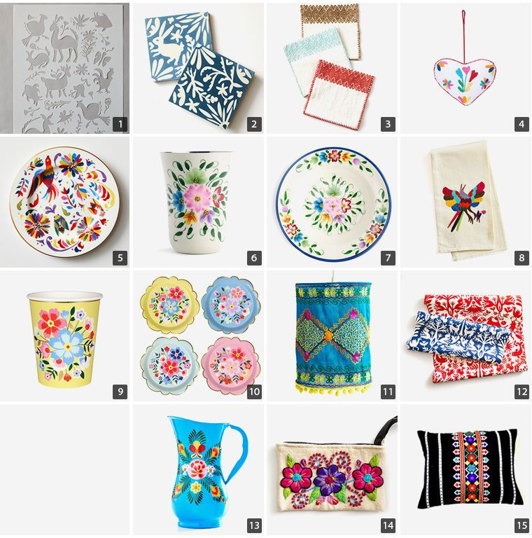 Collage of folk design products including otomi tiles, Kasmiri party cups, and embroidered pendant light photo
