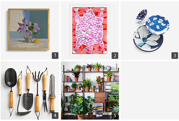 Collage of art pieces, blue dinnerware, garden tools, and plants photo