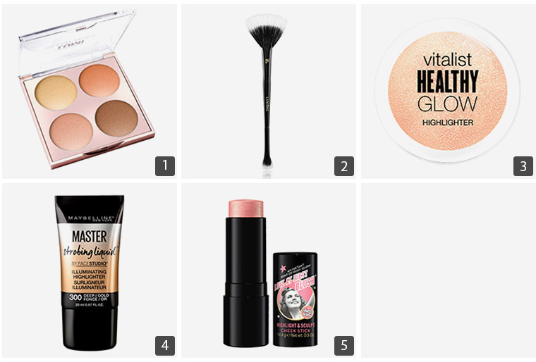 Collage of beauty products including CoverGirl Vitalist Healthy Glow Highlighter and L'Oréal Paris True Match Lumi Glow Nude Highlighter Palette photo