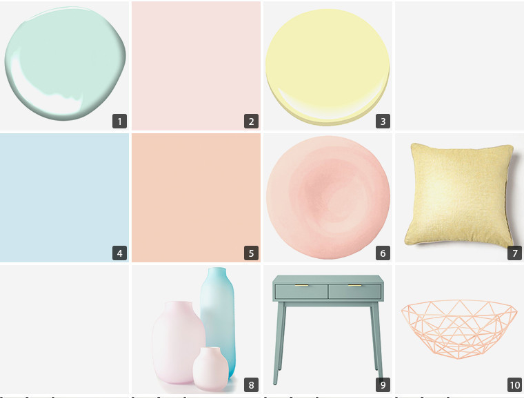 Collage of home decor items including paint swatches, wire baskets, and throw pillows photo