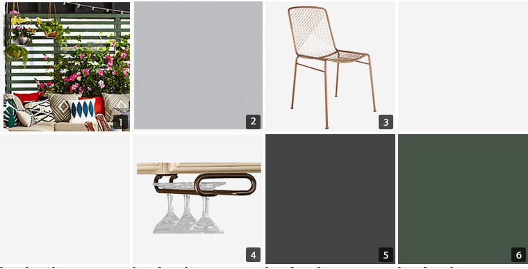 Collage of screen room products including paint swatches, green screen, chair, and an under-the-cabinet wine glass holder photo