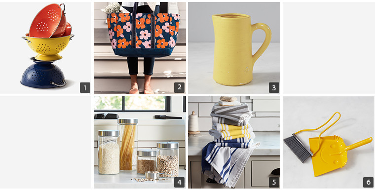 Collage of home decor items including colanders, a tote, yellow pitcher, glass containers, kitchen towels, and a yellow broom and dust pan photo