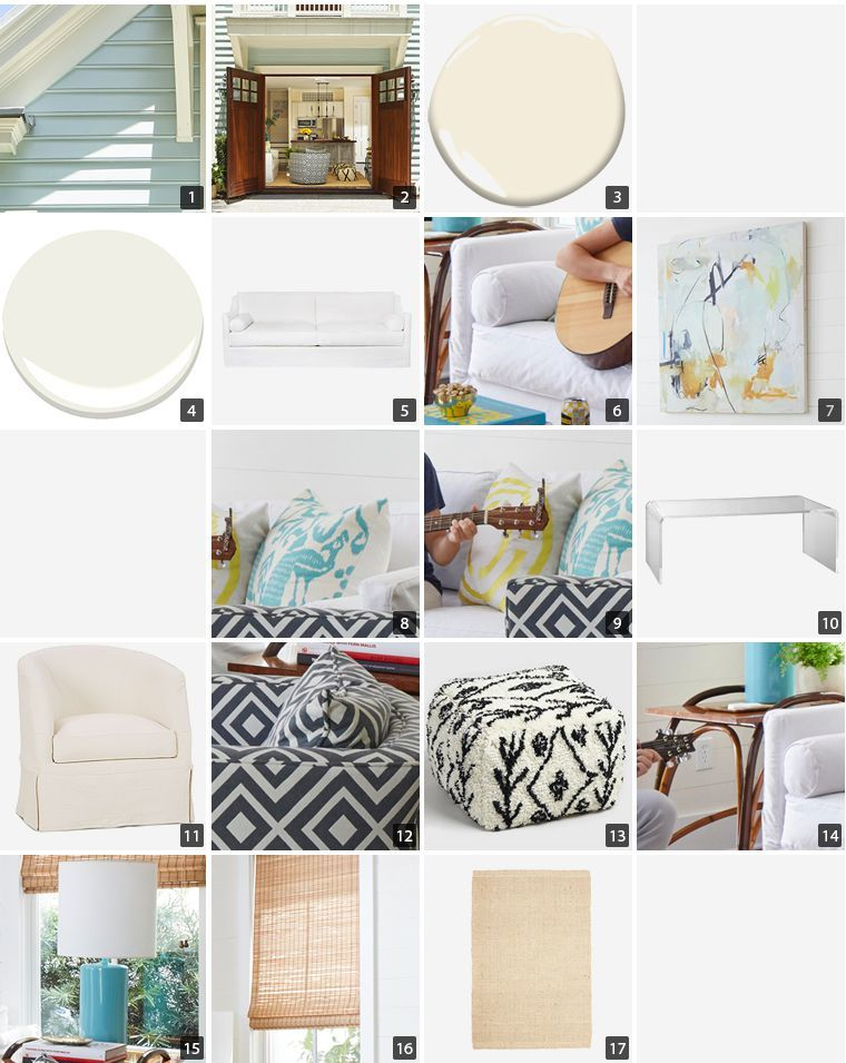 Collage of home products including paint swatches, acrylic pieces, and a white sofa photo