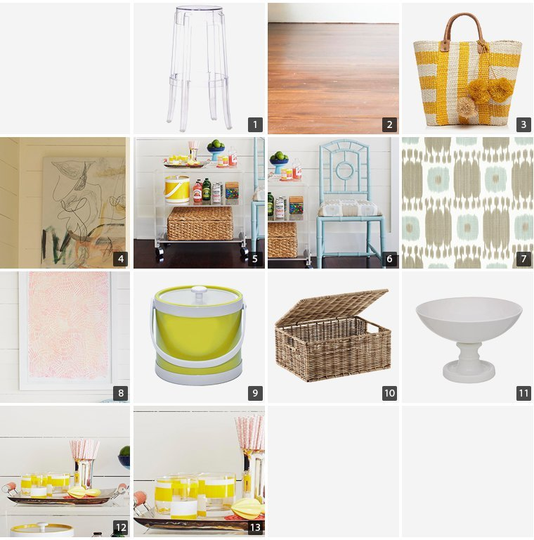 Collage of home products including acrylic stools, blue chair, and a yellow ice bucket photo