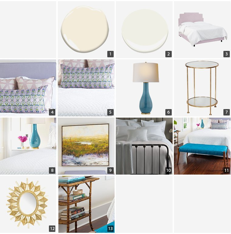 Collage of home products including a lilac bed frame, blue table lamps, and rattan sunburst mirror photo