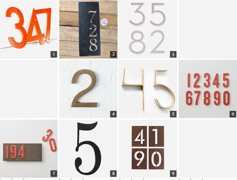 Collage of different house numbers in metal, gold, orange, and black photo