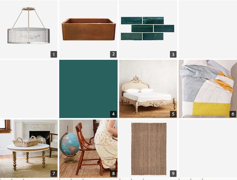 Collage of home products including a glass pendant light, green backsplash tiles, and a wooden bed frame photo