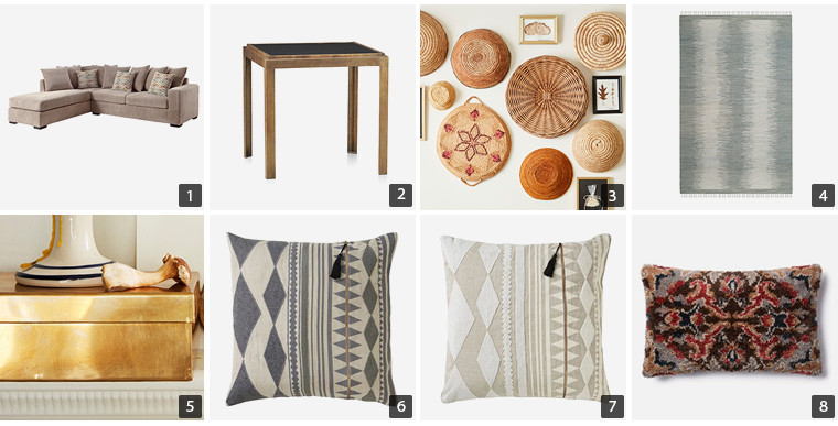 Collage of home products including throw pillows, rug, and coffee table photo
