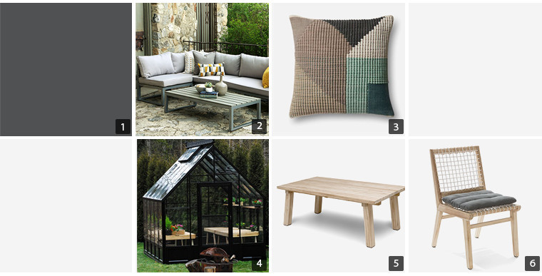 Collage of home products including throw pillow, dining table, and portable greenhouse photo