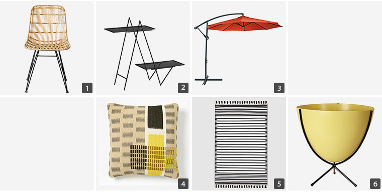 Collage of home products including a chair, shelves, patio umbrella, throw pillow, rug, and yellow planter photo