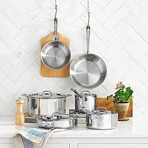 All-Clad 10-piece cookware set in stainless-steel photo