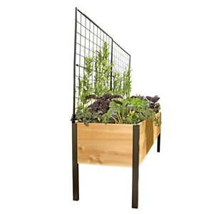 Raised-garden kit featuring a pivoting trellis and wooden box. photo