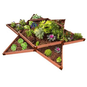 Wooden raised-garden kit in the shape of a star with lots of plants inside. photo